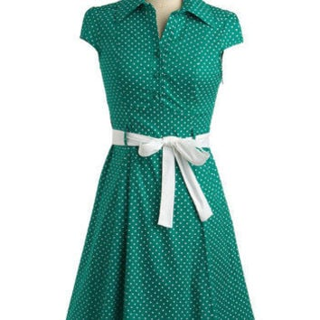 ModCloth Rockabilly Mid-length Cap Sleeves A-line Hepcat Soda Fountain Dress in Clover