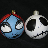 Nightmare Before Christmas Jack and Sally Ornament by Nerdgazmic