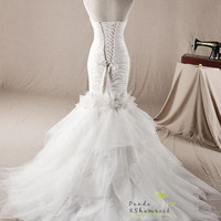 Jasmine/wedding gown/women clothing/bridal dress/long/lace/fishtail/mermaid/elegant/custom made/ALL SIZEE