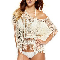Designer Swimwear 360 - Lupita Poncho Cover-Up - Natural