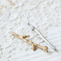 Twig Branch Hair Clips Bobby Pins - Gold Silver or Bronze - Mix and Match You Choose Set of Two