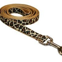 "Amazon.com: Medium Natural Leopard Dog Leash: 3/4"" wide, 6ft length - Made in USA.: Pet Supplies"