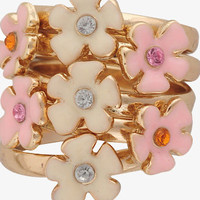Lacquered Flower Stack Ring Set | FOREVER 21 - 1015036952