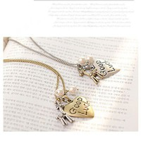 Cute Heart&Sika Deer Pendant Necklace at Online Jewelry Store Gofavor