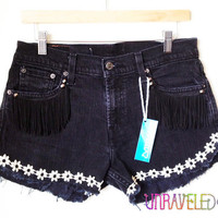 Black Fringe Denim Shorts (Medium) // 2014