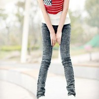 Korea Snow Style Dark Blue Long Jeans For Women China Wholesale - Everbuying.com