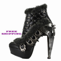 Metropolis Shoes Steampunk Agnes Black Bootie Heels | Bordello Shoes | Pleaser Rhinestone Shoes | Pinup Couture Shoes |Wild DNA Shoes | Demonia Shoes | Costume Shoes