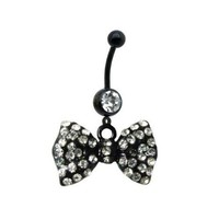 14G Black Bow Dangle Belly Ring With Stones Belly Button Navel Ring Piecing Jewelry + 1 Free Belly Retainer: Jewelry: Amazon.com