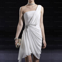 Sheath/Column One Shoulder Chiffon Short/Mini White Ruffles Party Dress  at dressestore.co.uk