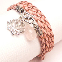 Pink Braided Leather Wrap Bracelet with Lotus by charmeddesign1012