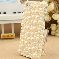 Custom iPhone 5 Case Pearls iPhone cases, White Pearl Black Bow iPhone 5 Case Hard iPhone 4 case, iPhone 4s case