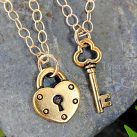 Key to my heart gold couples necklace set by WinterberryJewelry