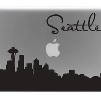 Seattle Skyline Macbook Decal With Writing / Macbook Sticker / Laptop Decal