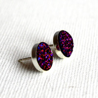 Intergalactic Purple Druzy Studs in Sterling Silver