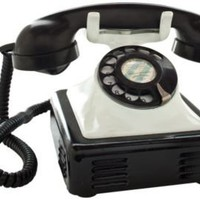 One Kings Lane - Russell Johnson - 1940s Black & White Metal Desk Phone