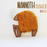Mammoth plushie, redhead, furry brown/orange hair