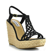 Steve Madden - Manngo - Black Crochet Canvas Espadrille Wedge Sandal      at Footnotesonline Women's Designer Shoes