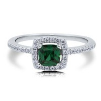 Cushion Emerald Cubic Zirconia CZ Sterling Silver Halo Solitaire Ring - Nickel Free Engagement Wedding Ring Size 9: Jewelry: Amazon.com