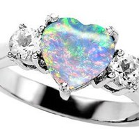 Original Star K(tm) 8mm Heart Shape Created Opal Engagement Ring LIFETIME WARRANTY: Jewelry: Amazon.com