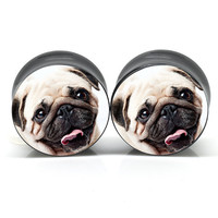 14mm thru 18mm - Pug Life Ear Gauge Custom Logo Plug Design - Sold in a Pair