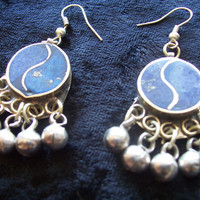 Earrings Afghan tribal lapis and silver alloy
