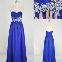 Strapless Sweetheart with Beading Chiffon Long Blue Prom Dress Bridesmaid Dress