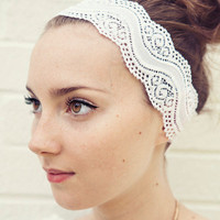 READY TO SHIP White and Wavy Stretch Lace Headband