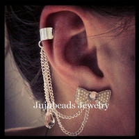 White Bow Swarovski Chain Ear Cuff