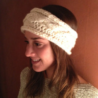 Cream Cable Knit Headband