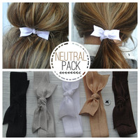 bow hair tie ponytail holders - neutral pack of 5- stretchy no dent no damage fold over elastic ribbon knotted ties