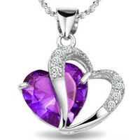 "Rhodium Plated 925 Silver Diamond Accent Amethyst Heart Shape Pendant Necklace 18""-sn3017: Jewelry: Amazon.com"