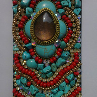 Christmas Gift Handmade Unique iPhone Cases iPhone 5 Cases Bohemia Folk Style iPhone 4 Case red beads turquoise iPhone 4s Case