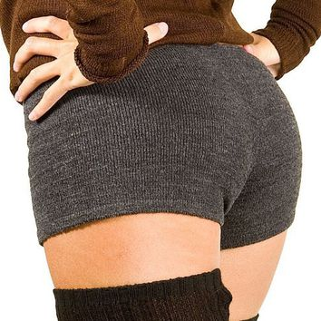 Charcoal Small Sexy Low Rise Yoga & Dance Shorts Stretch Knit by KD dance New York High Quality Yoga, Zumba, Yoga, Pilates, Sculpt & Gym Shorts Made In USA