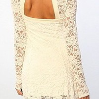 FREE PEOPLE New Flirt For You Syraya Lace Dress albaster NWT $128 M GORGEOUS