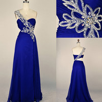 One Shoulder Sweetheart with Beading Chiffon Long Blue Prom Dress Evening Gown