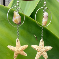 Seashell Hoop Starfish Dangle Earrings