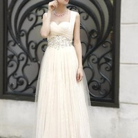 Graceful A-Line Floor-Length Sweetheart Empire Waistline Beadings Prom Dress[US4]
