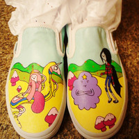 Handpainted Vans Adventure Time Shoes (Princess Theme)