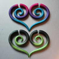 Colorful Tribal Spirals - Fake Gauge or Gauge Earrings