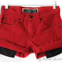 Mid-Rise Red Denim Levi&#x27;s Shorts (Size 28)