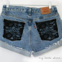 High Waisted Black Lace Pocket Levi&#x27;s Shorts (Size 30)