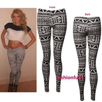 NEW WOMENS LADIES BEAUTIFULL AZTEC TRIBAL PRINT FULL LENGTH LEGGINGS SIZE 8/14
