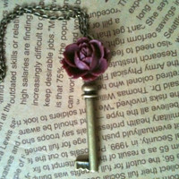 Antique bronze rose key charm necklace in ruddy by Victorianstudio