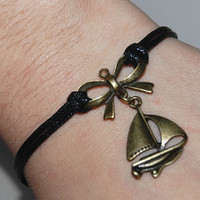 sailing boat bracelet butterfly tie bracelet  with black  strings