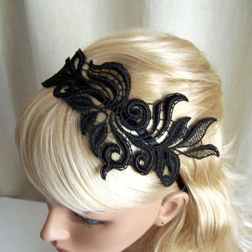 $ 27.00 Delphinium black lace headband by StitchFromTheHeart on Etsy