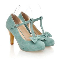 $ 9.46 Wholesale Plus Size Bowknot Embellished Wood Grain Heel Pumps Cyan