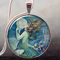 The Mermaid's Pearl art pendant, resin pendant mermaid necklace pendant mermaid jewelry