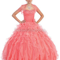 BallGown Sweetheart Organza Floor-length Watermelon Beading Quinceanera Dress at dressestore.co.uk
