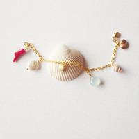 The Mermaid Bracelet - Sea Shell Coral Freshwater Coin Pearl Aqua Seafoam Chalcedony - Cute Adorable Elegant - Romantic - Whimsical - Dreamy