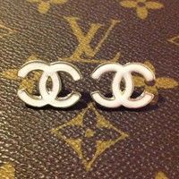 White chanel earrings